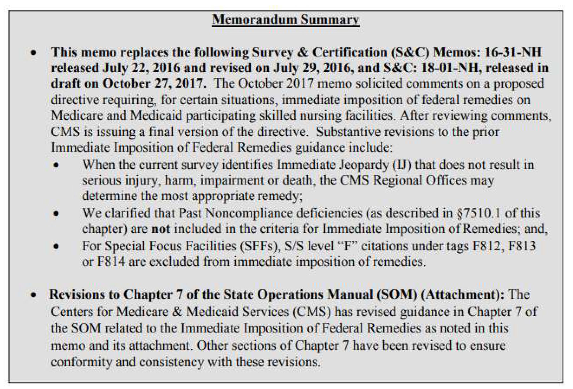 Final Revised Policies Regarding the Immediate Imposition of Federal  Remedies Chapter 7 of the State Operations Manual